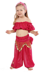 Belly Dance Kid's Chiffon Top, Pants, & Hip Scarf Halloween Costume Set | BELLY BABIES