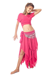 Belly Dance Kid's Skirt, Top & Hip Scarf Costume Set | BINTIBALAD