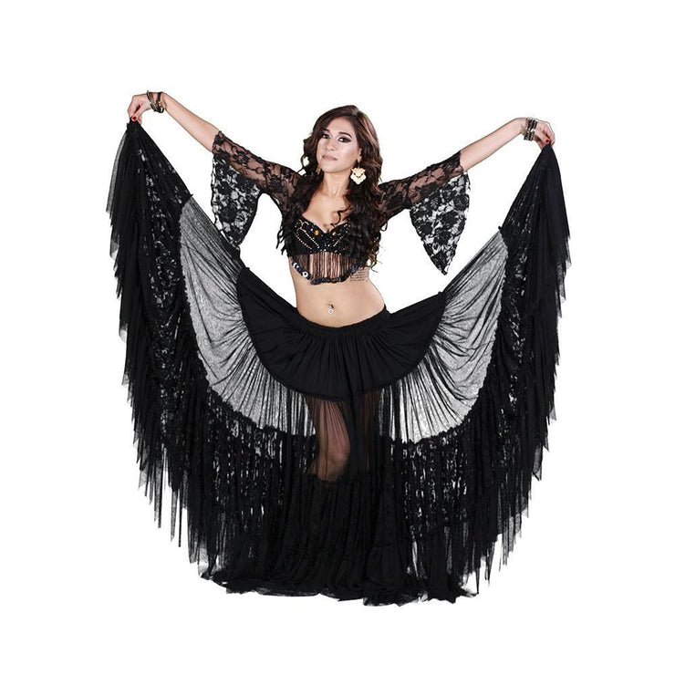 Belly Dance Lace Bra, Skirt, & Net Scarf Costume Set | ROMA ELEGANCE