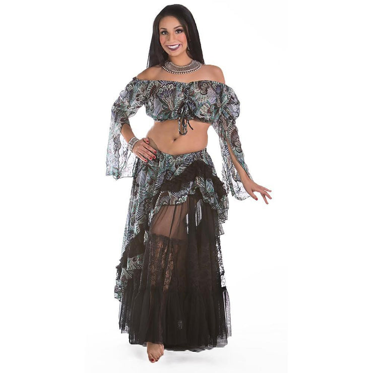 Belly Dance Lace & Chiffon Three-Piece Skirt & Top Costume Set | ANA STARI