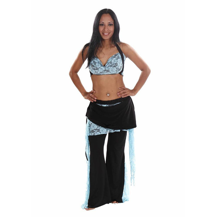 Belly Dance Lace & Lycra Halter Top With Pants Costume Set | LACED UP
