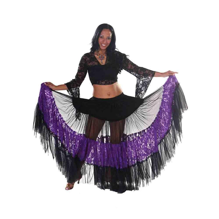 Belly Dance Lace & Sheer 25 Yard Skirt | LACE OF BELEZA