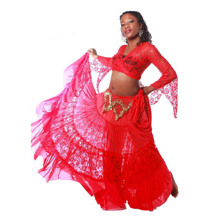 Belly Dance Lace Skirt, Top, & Hip Scarf Costume Set | CLASSIC LACE