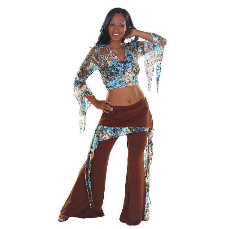 Belly Dance Lace/Lycra Harem Pants & Top Costume Set | TURQUOISE KALIDESCOPE