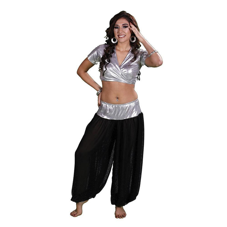 Belly Dance Lycra Choli Top With Chiffon Harem Pants Costume Set |