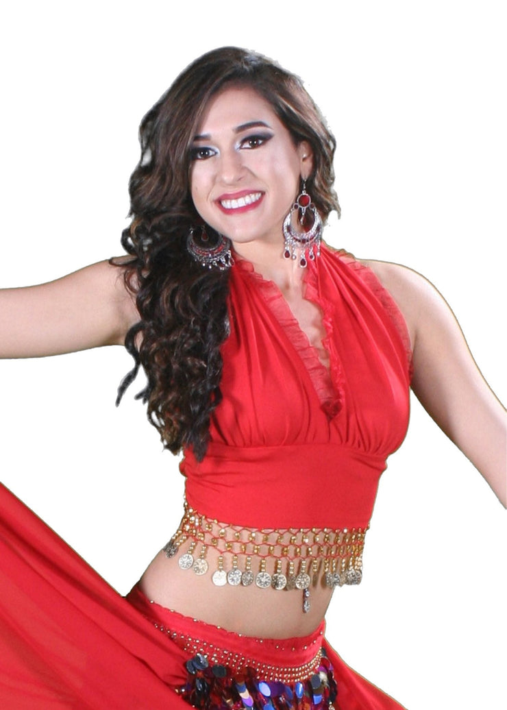 Belly Dance Lycra Stretchy Halter Top with Ruffles | MASRIYA MONROE