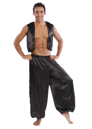 Belly Dance Men's Satin Vest & Pants Costume Set | MYSTICAL MJNI 2