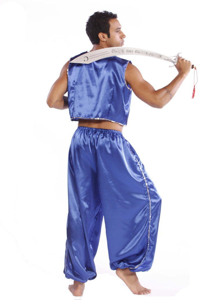 Belly Dance Men's Satin Vest & Pants Sequiens Costume Set | MYSTICAL MJNI