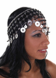Belly Dance Net Beaded Head Piece with Coins | DEIRA CROWN