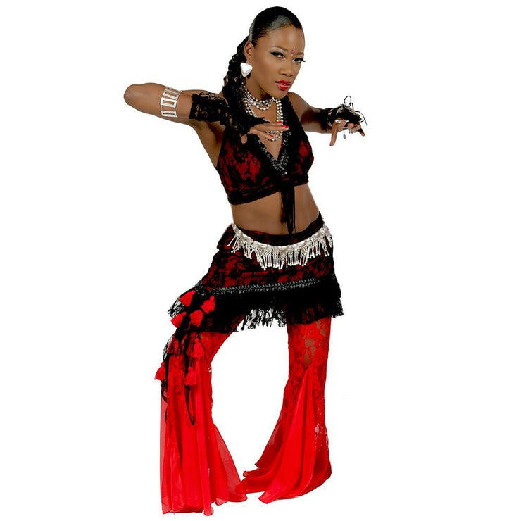 Belly Dance Pants, Halter Top, & Hip Skirt Costume Set | PERA TRIBES/LICAI