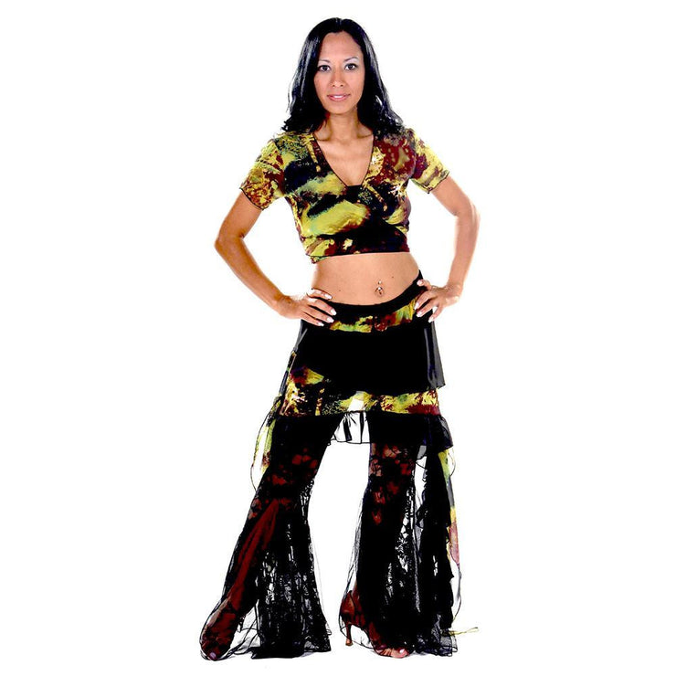 Belly Dance Pants, Top, & Hip Scarf Costume Set | LACE AND TIES