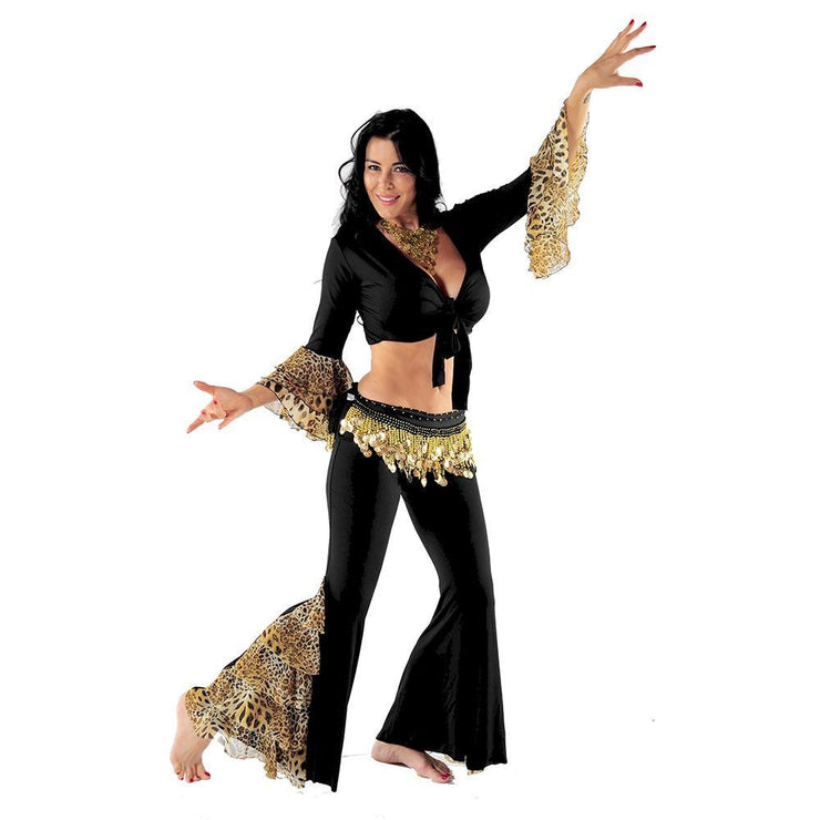 Belly Dance Pants, Top, & Hip Scarf Costume Set | LEONA MODERNA