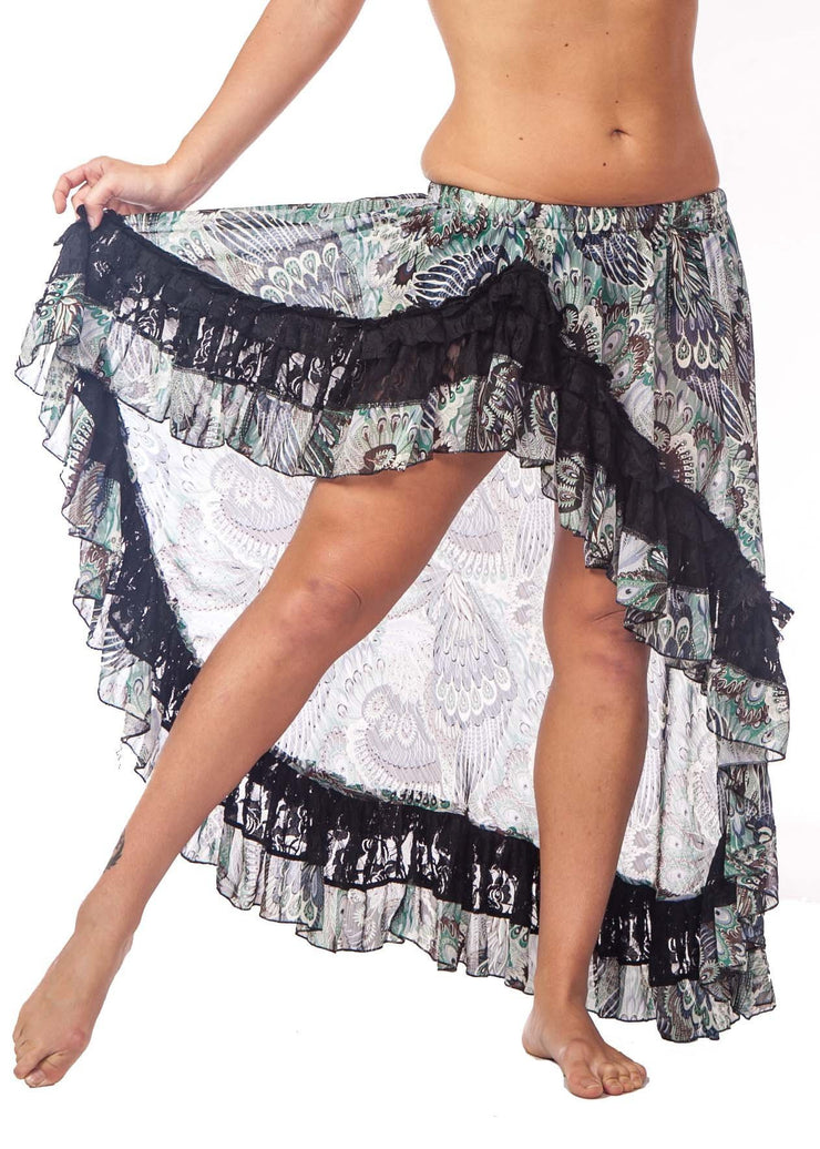 Belly Dance Patterned and Lace Skirt | PAISLEY RAYS