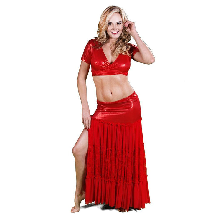 Belly Dance Red Skirt, Top, & Hip Scarf Costume Set | SIZZLIN HOT RAQS