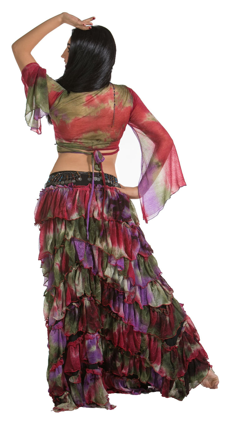 Belly Dance Ruffled Skirt, Choli Top, & Belt Costume Set | ROSA LEEHA