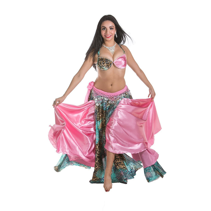Belly Dance Satin Bra, Full Circular Skirt & Hip Scarf |