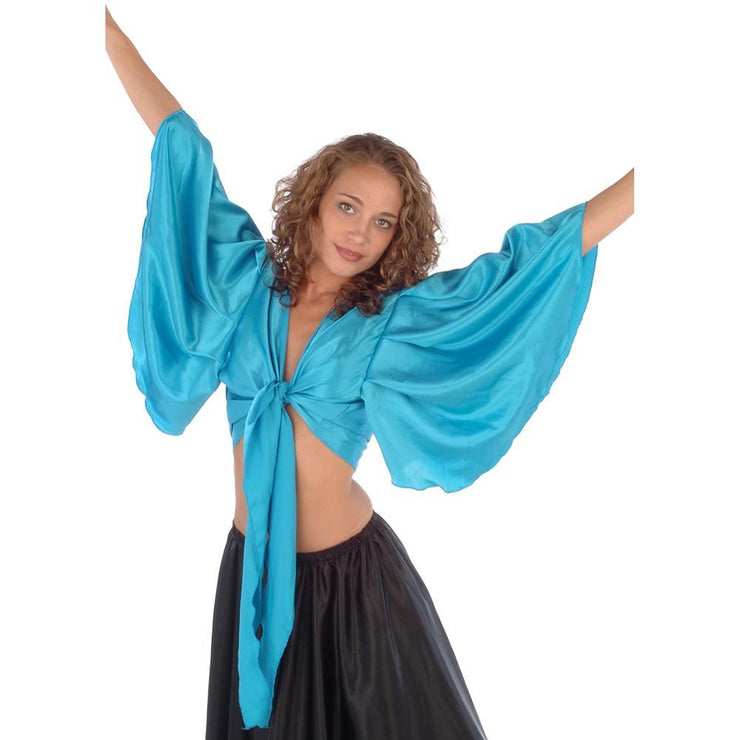 Belly Dance Satin Fluted Sleeve Top | RAQS ROMANI