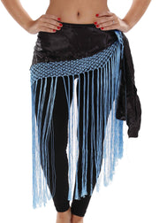 Belly Dance Satin Fringe Hip Scarf | SULTRY SATIN