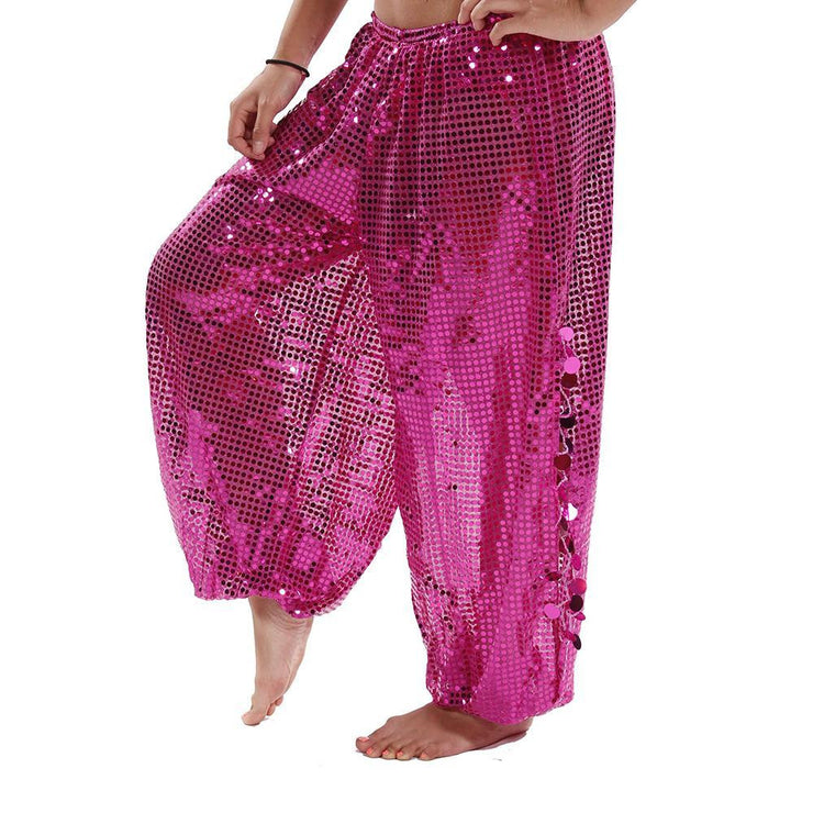 Belly Dance Sequined Harem Pants With Side Slits |