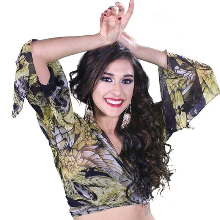 Belly Dance Sheer Designed Choli Top | Fetina Bolo