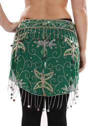 Belly Dance Sheer Sequin Patterned Hip Wrap | SERENADE SENEYA