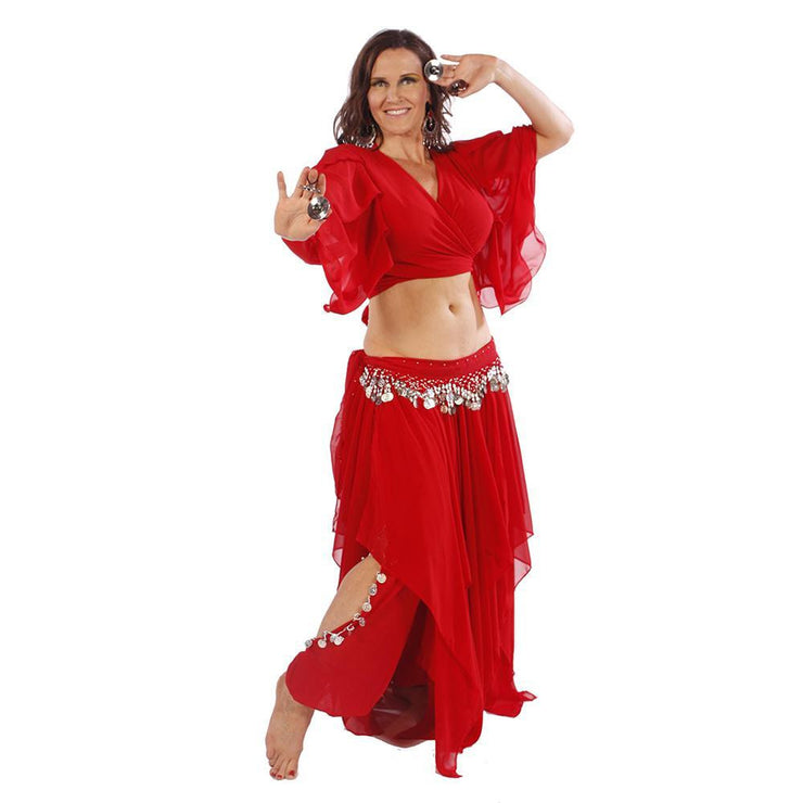 Belly dance Skirt, Pants, Top, & Hip Scarf Costume Set | FIT FOR FATINE