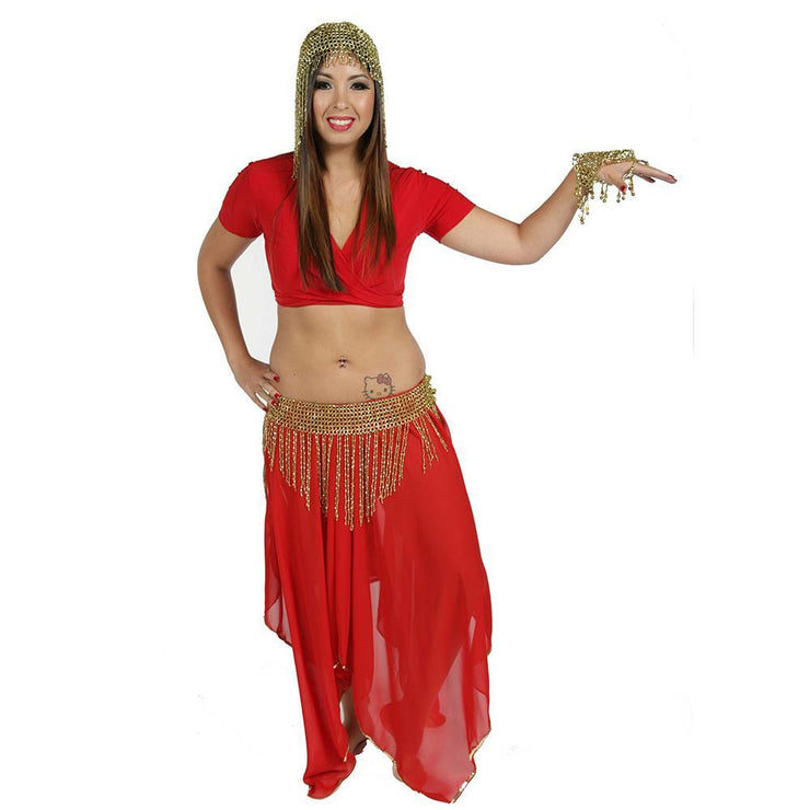 Belly Dance Skirt, Top, & Beaded Hip Scarf Costume Set | KARFALA