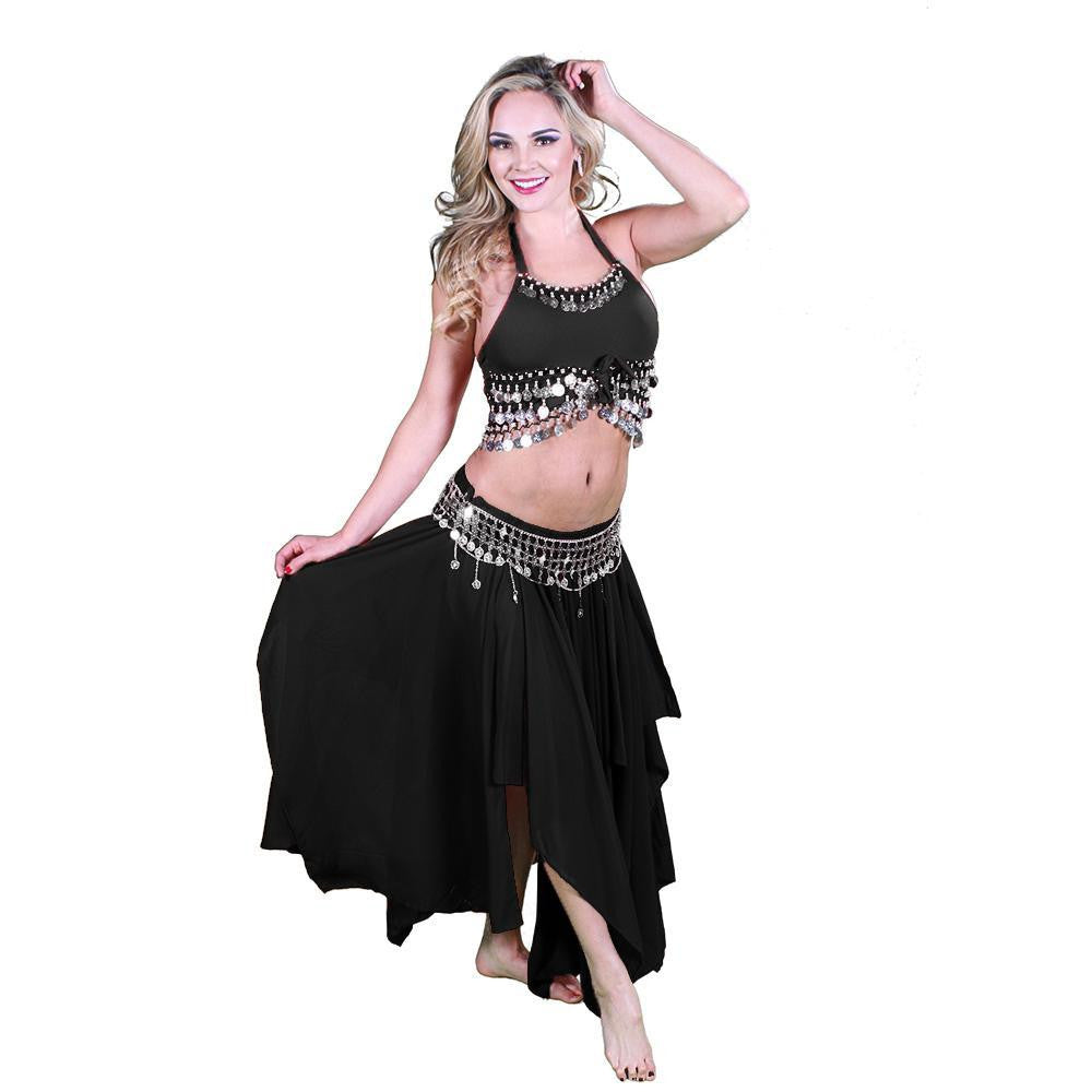 Belly Dance Skirt, Top, & Coin Belt Costume Set | REVELRY