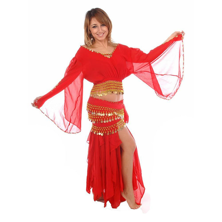 Belly Dance Skirt, Top, & Hip Scarf Costume Set | ANDUSSENCE