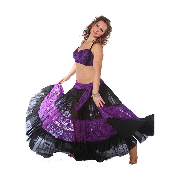 Belly Dance Skirt, Top, & Hip Scarf Costume Set | COLOR DOBLE