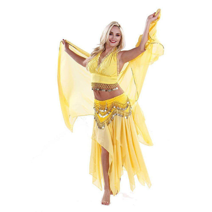 Belly Dance Skirt, Top, Veil, & Hip Scarf Costume Set | ELEGANCE