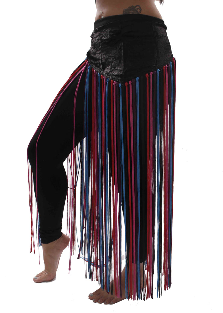 Belly Dance Tie-Dye Velvet Fringe Hip Scarf | FLOW FRINGE