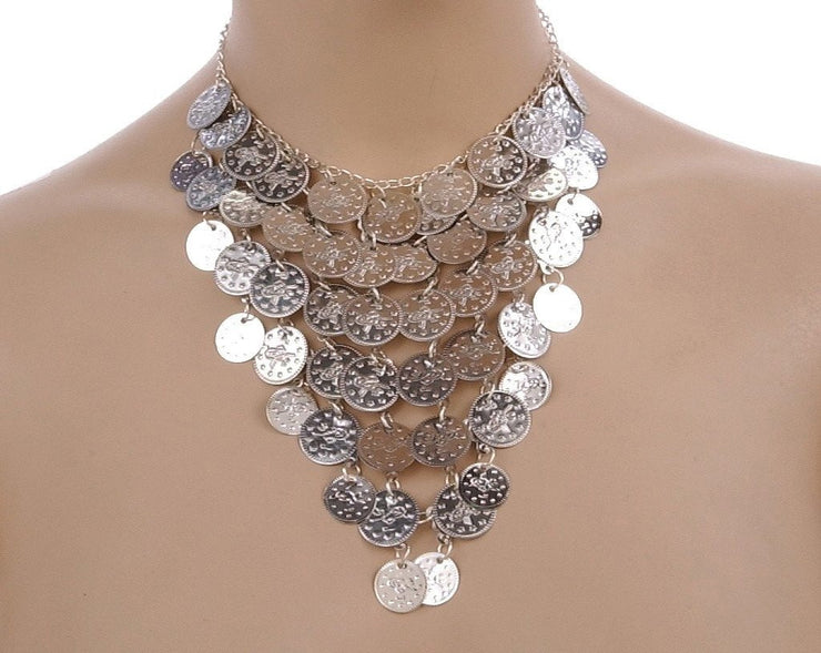 Belly Dance Triangle Necklace with Coins