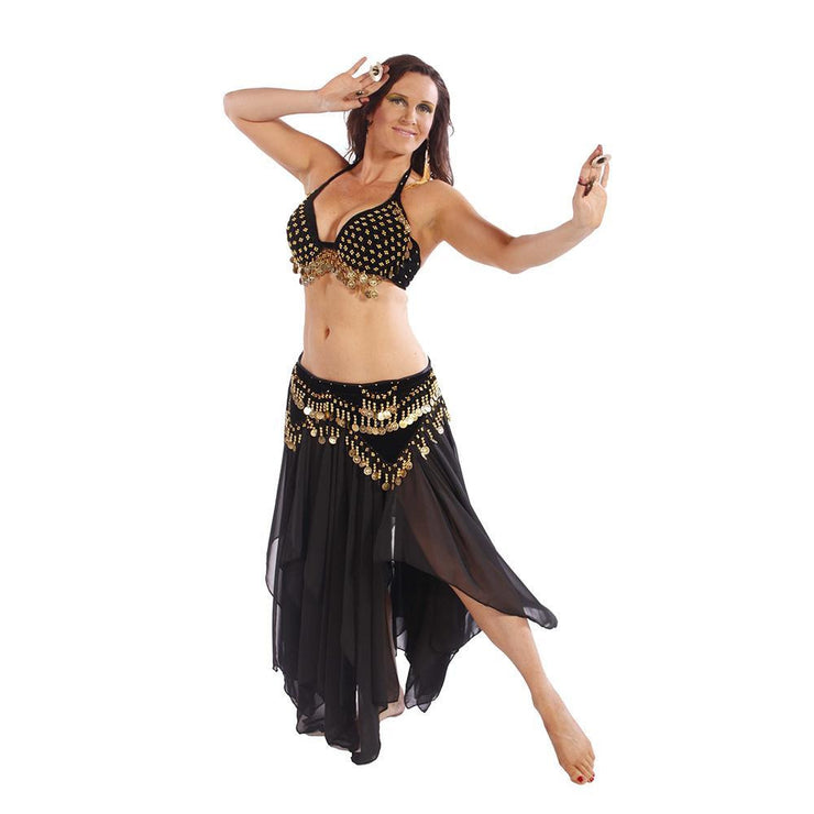 Belly Dance Velvet Bra, Skirt, & Hip Scarf Costume Set | TRIBAL TRIBUTE