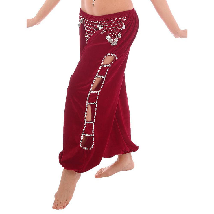 Belly Dance Velvet Harem Pants With Side Cut-Outs | HIPCHI