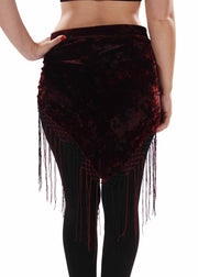 Belly Dance Velvet Tie Dye Hip Scarf with Fringe | BELLY BATIKS