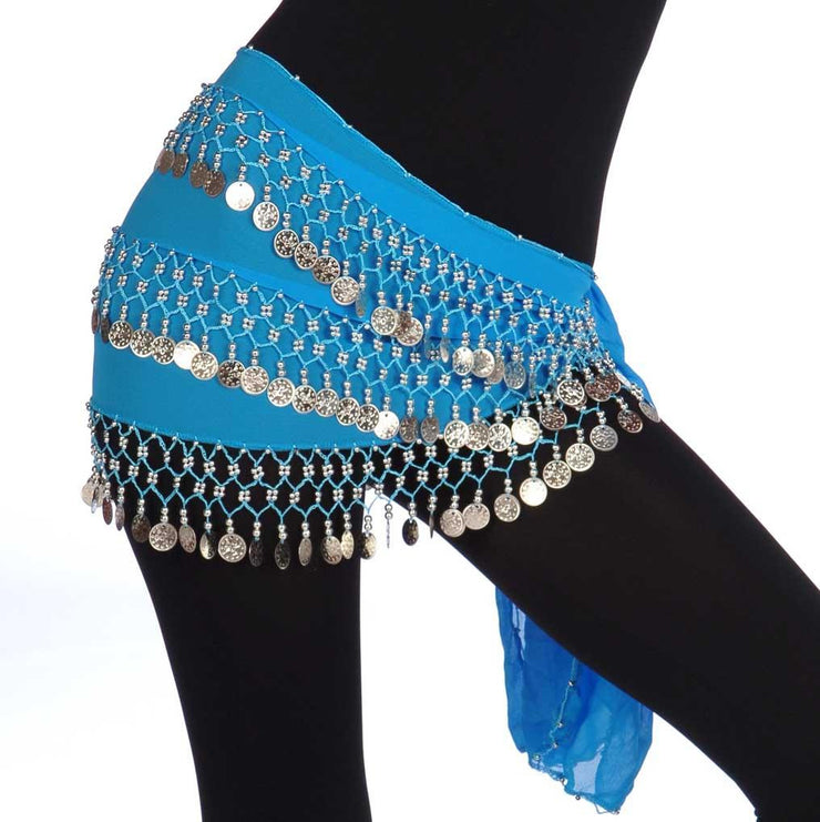 Belly Dance Plus Size Chiffon 3 Straight Rows Hip scarf  | TURKISTANI PLUS