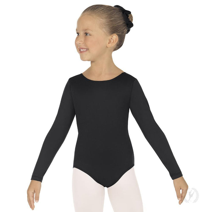 Eurotard Girls Long Sleeve Leotard with Cotton Lycra