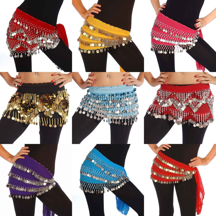 Wholesale Lots of 10 Chiffon Mixed Model Belly Dance Hip Scarf
