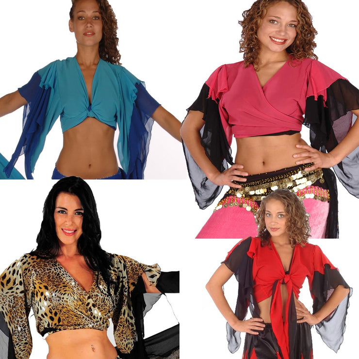 Wholesale Lots of 6 Belly Dance Chiffon 2-Color Choli Tops