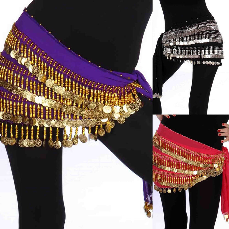 Wholesale Lots of 6 Chiffon Belly Dance Hip Scarf (Model DC)