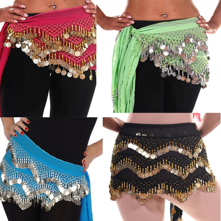 Wholesale Lots of 6 Chiffon Belly Dance Hip Scarf (Model KC)
