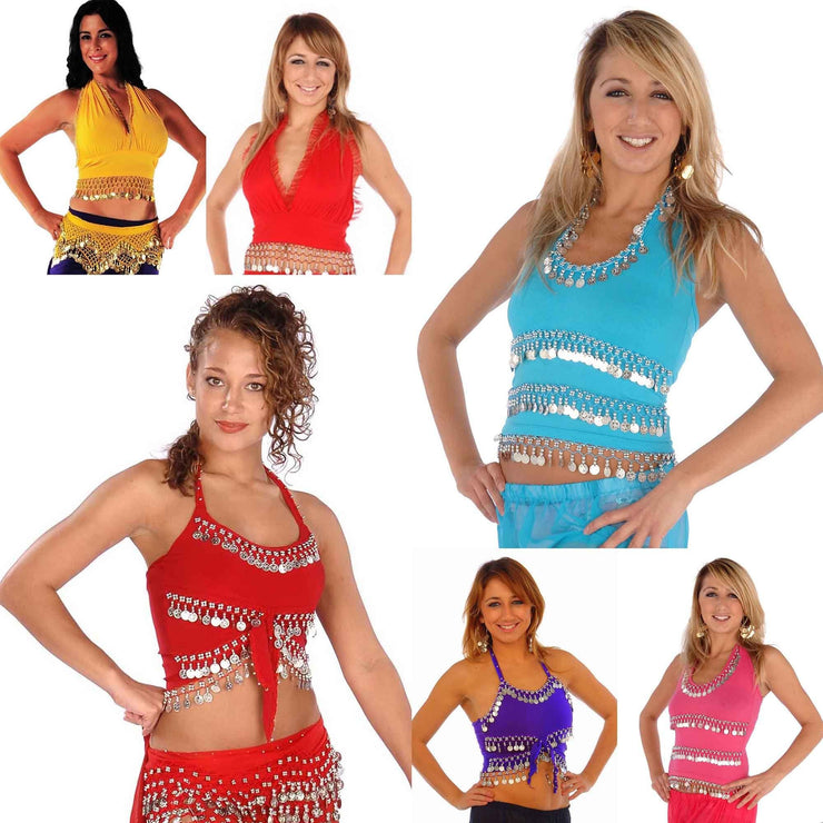 Wholesale Lots of 6 Mixed Belly Dance Stretchy Lycra Tops