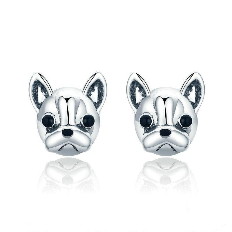 French Bulldog Silver Earrings