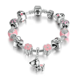 Love My Dog Heart & Flower Charm Bracele