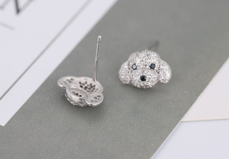 Poodle Sterling Silver Earrings