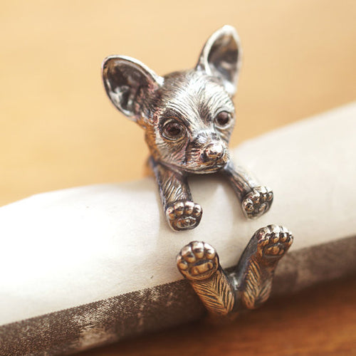 Vintage Adjustable Chihuahua Wrap Ring.