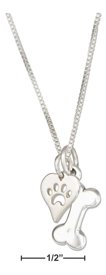"Sterling Silver 18"" Dog Bone Necklace with Dog Paw Print Heart Charm"