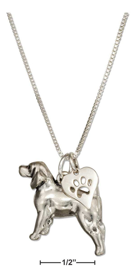 "Sterling Silver 18"" Beagle Necklace with Dog Paw Print Heart Pendant"