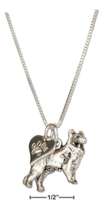 "Sterling Silver 18"" Collie Dog Pendant Necklace with Paw Print Heart"